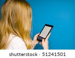 Small photo of blond girl reading electronic books on an ebook reader device