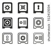 safe vector icons set. black... | Shutterstock .eps vector #512415034