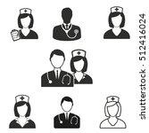 nurse vector icons set. black... | Shutterstock .eps vector #512416024