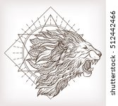 vector ornamental lion head... | Shutterstock .eps vector #512442466