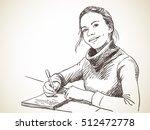 girl writing in exercise book... | Shutterstock .eps vector #512472778