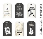 set of christmas tags. hand... | Shutterstock . vector #512483854