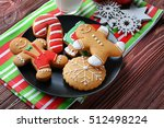 Plate With Tasty Cookies And...