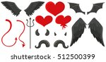 angel wings and devil horns... | Shutterstock .eps vector #512500399