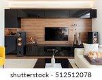 elegant living room with black... | Shutterstock . vector #512512078