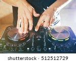 dj turntable console mixer...   Shutterstock . vector #512512729