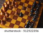 chess board with chess pieces... | Shutterstock . vector #512522356