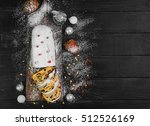 christmas stollen. traditional... | Shutterstock . vector #512526169