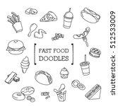 fast food doodles set   Shutterstock .eps vector #512533009