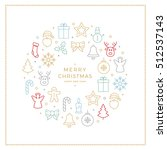 colorful christmas icons... | Shutterstock .eps vector #512537143