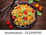 fusilli pasta salad with pesto... | Shutterstock . vector #512549530