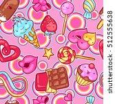 seamless kawaii pattern with... | Shutterstock .eps vector #512555638