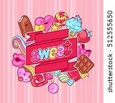 kawaii background with sweets... | Shutterstock .eps vector #512555650