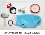 Stock photo pet accessories on wooden background 512563303