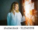 beautiful woman enjoying salt...   Shutterstock . vector #512565598