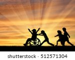 happy boy in wheelchair playing ... | Shutterstock . vector #512571304