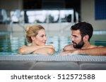 beautiful couple enjoying spa... | Shutterstock . vector #512572588