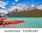 lake louise on a beautiful...   Shutterstock . vector #512581183