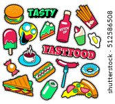 fast food badges  patches ... | Shutterstock .eps vector #512586508