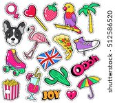 fashion girls badges  patches ... | Shutterstock .eps vector #512586520