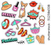 fashion girls badges  patches ... | Shutterstock .eps vector #512586538