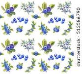 bilberry pattern  blueberries... | Shutterstock . vector #512586790