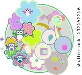 birthday party card with cute...   Shutterstock . vector #512592256