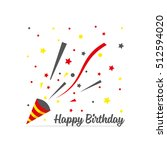 exploding party popper with... | Shutterstock .eps vector #512594020