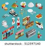 restaurant isometric icons set ...   Shutterstock .eps vector #512597140