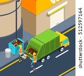 scene of garbage collectors at...   Shutterstock .eps vector #512597164