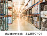 blurred image large warehouse... | Shutterstock . vector #512597404