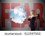 woman has crashed a white brick ... | Shutterstock . vector #512597503