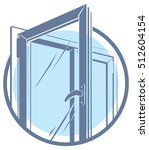 pvc plastic window icon | Shutterstock . vector #512604154