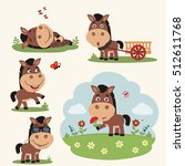 vector set funny horse in... | Shutterstock .eps vector #512611768