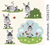 Vector Set Funny Donkey In...