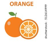 orange fruits poster in cartoon ... | Shutterstock .eps vector #512614999
