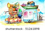 happy family traveling on... | Shutterstock . vector #51261898