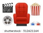 set elements for cinema design... | Shutterstock .eps vector #512621164