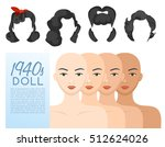 1940s vintage hairstyle  ... | Shutterstock .eps vector #512624026