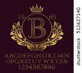 golden ornate letters and... | Shutterstock .eps vector #512627140
