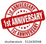 1st anniversary stamp.  red... | Shutterstock .eps vector #512630548