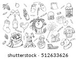 hand drawn christmas elements... | Shutterstock .eps vector #512633626