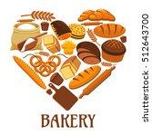 bakery symbol in shape of heart.... | Shutterstock .eps vector #512643700