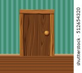Cartoon Wooden Old Door  Home...