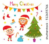 set of cute little christmas... | Shutterstock .eps vector #512655766