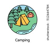 camping icon   circle line... | Shutterstock .eps vector #512664784