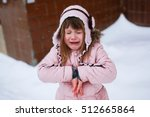 crying girl in the pink jacket... | Shutterstock . vector #512665864