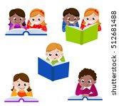 cute children reading books. ... | Shutterstock .eps vector #512681488