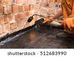 flat roof installation. heating ... | Shutterstock . vector #512683990