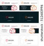 3d houses business cards  red... | Shutterstock .eps vector #512683996
